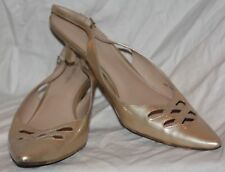 """VIA SPIGA Patent Leather Slingback-Gold-Size 10.5N with 2"""" Kitten Heel"""