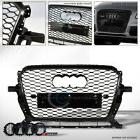 Fits 13-17 Audi Q5 Glossy Black RS-Honeycomb Mesh Front Hood Bumper Grill Grille