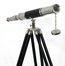 Floor Standing Tripod Home Decor Maritime Navy Brass Telescope Silver & Leather
