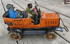 Vintage AMOS N ANDY FRESH AIR TAXI CAB Wind up Tin Car