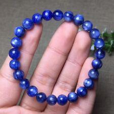 7.3mm Natural Blue Kyanite Crystal Cat Eye Beads Stretch Bracelet AAA