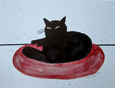 "Original painting 11x14"" CANVAS black cat red cushion by Lynne Kohler"