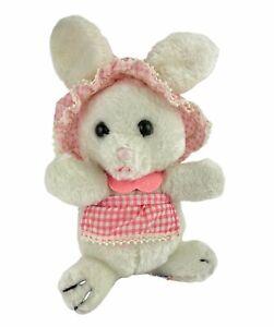 "R Dakin Easter Bunny Rabbit Plush 1979 11"" Hat Apron Pink White Gingham Vintage"