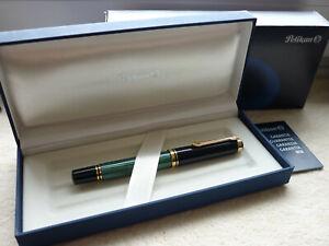 Pelikan Souverän Füller M600 grüngestreift,14K bicolor Goldfeder - unbenutzt,Box
