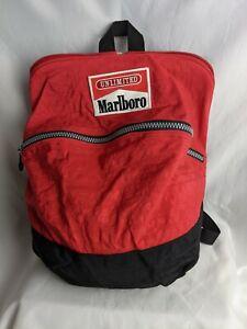 Marlboro Unlimited Red Vintage Zip 90s Backpack Bag W Adjustable Straps