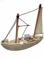 "8.5""X8"" Nautical Wooden Handmade Sailboat Model With Shell Boat Ship Home Decor"