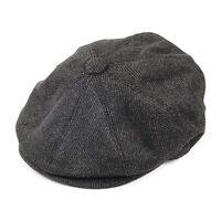 NEW GREY TWEED HERRINGBONE 8 PANEL COUNTRY FLAT GATSBY NEWSBOY BAKER BOY CAP