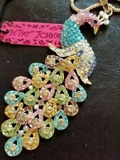 Luxury Multi-Color Crystal Peacock Pendant Betsey Johnson Sweater Necklace
