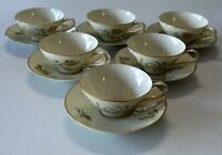 Rosenthal Summer Blossoms Ivory Set Of Six Cup & Saucer Sets