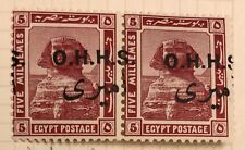 Egypt Stamps 1914 5 mil  Pair VARIETY Shifted Ovp MH.SCARCE!!