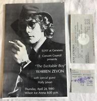 Warren Zevon CONCERT TICKET STUB  April 24, 1980 @ SUNY Geneseo NY & PROGRAM