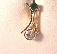.23CT Diamond Princess Emerald Hand Made Pendant 14K gold