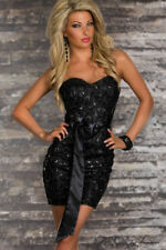 Women Sweetheart Strapless Party Cocktail Dress and Chic Lace Overlay Satin Belt
