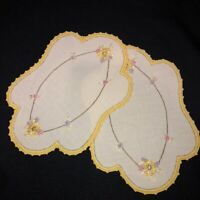 Vintage Antique Embroidered Floral Linen Doilies Set of 2 Yellow Crocheted Hems