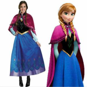 Adult Frozen Princess Anna Fancy Dress Up Snow Queen Womens with Cape Costume AU