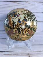 Vintage Gold Enameled Lidded Trinket Dish Birds & Flowers Satsuma Style