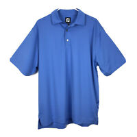 FootJoy FJ Men's Polo Golf Shirt Size Large Blue Short Sleeve Striped Athletic