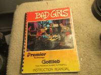 original BAD GIRLS  GOTTLIEB   pinball MACHINE manual
