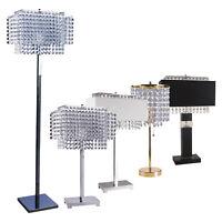 HONGVILLE HV TLAMP 732 Chrome Base with Faux Crystal Lamp Shade Table Lamp