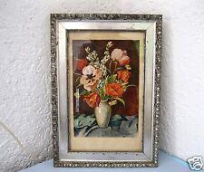 Altes Aquarell W.Gräfe München 1948 Stillleben Blumenstrauß in Vase Holzrahmen