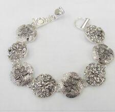 Silver Plated Rhinestone Crystal Sand Dollar Charm Bracelet Beach Sea Life #4332