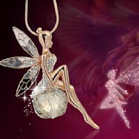 Stylish Women Crystal Fairy Angel Wing Pendant Long Chain Sweater Necklace Gift
