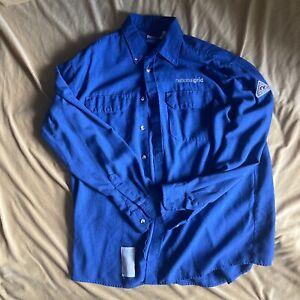 Bulwark FR Large Shirt Button Down Blue Company Logo