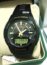 CPW-500H-1A CPW500H Casio Mens Quartz Islamic Prayer Compass Black Resin Watch