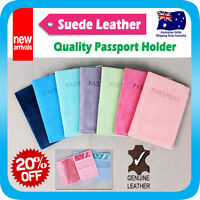 Passport Holder Travel Wallet Cover Case Protector Card Organiser Suede Leather