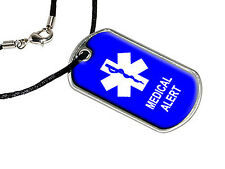 Medical Alert - Military Dog Tag Black Satin Cord Necklace