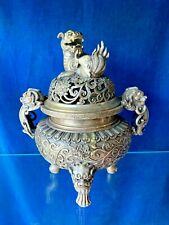 QianLong 3 Leg Urn ANCIENT ANTIQUE CHINESE Dragon Silver Incense Burner ❤️j8
