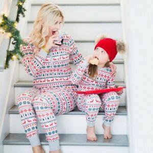 Baby Kids Christmas Family Parent-child Pajama Suit Print Long Sleeve Sleepwear