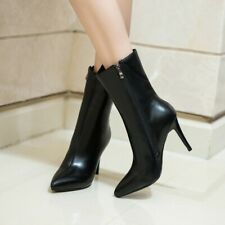 Women's Leather High Heel Ankle Boots Slim Booties Pointed Toe Shoes Side Zip