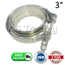 "V-BAND CLAMP + FLANGES COMPLETE STAINLESS STEEL EXHAUST TURBO HOSE 3"" 76mm"