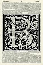 ORIGINAL - Letter B Alphabet Vintage Dictionary Art Print - Wall Hanging NO.523D
