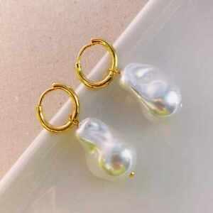Huge White Baroque Pearl Earrings Wedding Gift Diy Freshwater Mother's Day