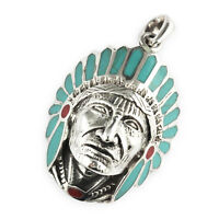 Mens 925 Sterling Silver Big Large Apache Head Chief Turquoise 33mm Pendant
