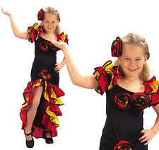 Childrens Girl Flamenco Fancy Dress Costume Spanish Dancer Salsa Kids Outfit M