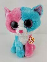 """Ty Beanie Boos Fiona Kitty Cat Plush 9"""" Justice Exclusive Pink Teal New With Tag"""