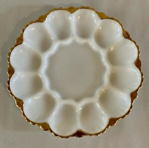Vintage Anchor Hocking Milk Glass Deviled Egg Plate Gold Trim Ornate Bottom