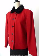 JACQUI E  Long Sleeve Button Down Jacket With Faux Fur Collar Size 12  US 8