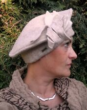Cappello DELLE DONNA BERRETTO BASCO MC Burn in toni beige lana per evento
