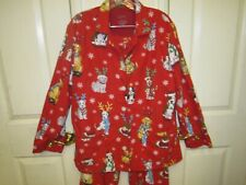 Nick & Nora Womens L Pajama 2 Piece Classic Set Christmas Dogs Dressed for Snow