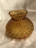 Vintage Amber Diamond Quilted Glass Hurricane Lamp Shade with Ruffled Top Edge
