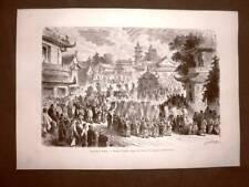 Pechino nel 1863 Cerimonia funebre o funerale Cina Disegno di Janet Lange
