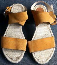 Ladies Zara sandals Mustard leather ankle strap Size 39