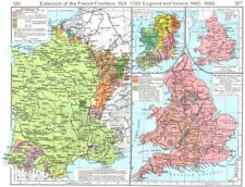 FRANCE. Frontiers, 1601-1766; British Isles, 1485-1688; Ecclesiastical 1956 map
