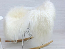 REAL ICELANDIC SHEEPSKIN SINGLE RUG LONG CURLY HAIR NATURAL WHITE #26