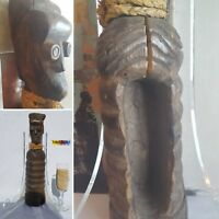 UNCOMMON Slit Gong Drum Musical Figure Statue Sculpture Mask Fine African Art