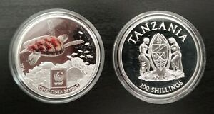 TANZANIA COLORED SILVER PLATTED PROOF 100 SHILLINGS COIN 2016 GREEN SEA TURTLE